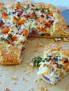 fall veggie galette with a polenta crust, ricotta, butternut squash, onions and kale from Proud Italian Cook Veggie Recipes, Fall Recipes, Vegetarian Recipes, Cooking Recipes, Healthy Recipes, Brunch Recipes, A Food, Food And Drink, Galette Recipe