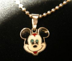 VINTAGE STERLING SILVER 925 MEXICO MICKEY MOUSE PENDANT CHARM BALL NECKLACE