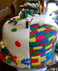 Lego cake...are the Legos real