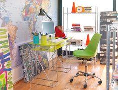 Escritorio de vidrio   #Dormitorio #Verde #Estante #Pieza #Estilo #Juvenil