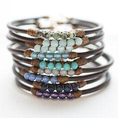 5 Perfect Gems Leather Bracelets-Ocean Colors   Wallin & Buerkle