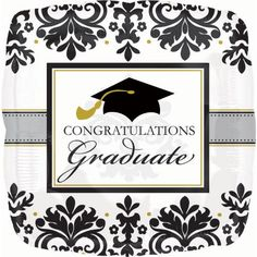 Black  White Grad Graduation Foil Balloon  Official Party Supplies * Click image to review more details.  This link participates in Amazon Service LLC Associates Program, a program designed to let participant earn advertising fees by advertising and linking to Amazon.com.