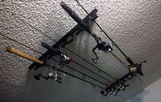 9 Fishing Rod Pole Reel OFFSHORE Holder Garage Ceiling Wall Mount Rack Organizer | eBay