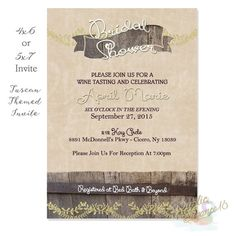 Hey, I found this really awesome Etsy listing at https://www.etsy.com/listing/210022583/tuscan-bridal-shower-invitation