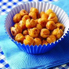 Crunchy Roasted Chickpeas...great 100 calorie snack. 425 with salt for 30 minutes