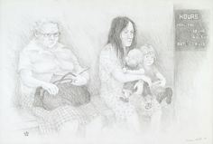 1981 pencil 38 x 56 cm by © Susan Dorothea White White Women, Surgery, Waiting, Pencil, Drawings, Artist, Artists, Sketches, Drawing