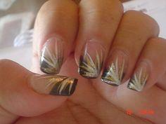 Black nail tips with  Golden stripes Nail Art | Nail acrylic nail tip designs