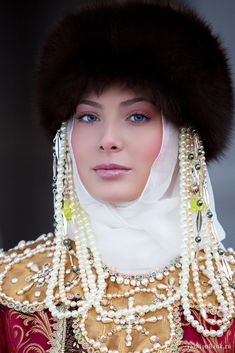 Russian beauty, stylized historical costume of a rich noble woman.