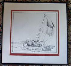 Original Pen Ink Sailboat Scene Art Illustration by VistaChick