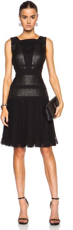 J. Mendel Chantilly Lace Insert Cotton-Blend Dress in Black