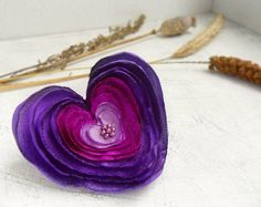 Fabric heart brooch in three shades of purple by Likron on Etsy, $8.00