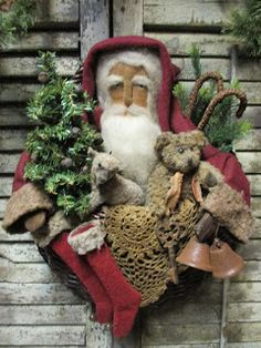 Christmas In July, Christmas Home, Christmas Crafts, Christmas Decorations, Xmas, Christmas Ideas, Primitive Santa, Primitive Crafts, Wooden Cart