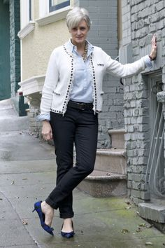 chambray and pearls   style at a certain age
