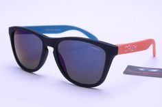 a4a97abfc9 Oakley Frogskins Sunglasses Red Blue Black Frame Black Lens 0366 Sunglasses  2014