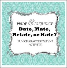 "FREE LANGUAGE ARTS LESSON - ""Pride and Prejudice: Fun Characterization and Textual Evidence Activity"" - Go to The Best of Teacher Entrepreneurs for this and hundreds of free lessons. 9th - 12th Grade     #FreeLesson     #LanguageArts    http://www.thebestofteacherentrepreneurs.com/2016/06/free-language-arts-lesson-pride-and.html"