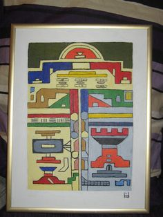 NDEBELE WALL Afica Tribe oil painting signed 12 x 16
