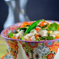 Kohlrabi & Apple Salad With Walnut Vinaigrette (kohlrabi, apple, carrots, lemon juice, salt, basil, chopped walnuts, apple cider vinegar, olive oil, salt, pepper, agave nectar, water)