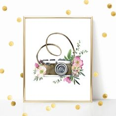 Camera With Flowers Watercolor Digital Print Instant Art