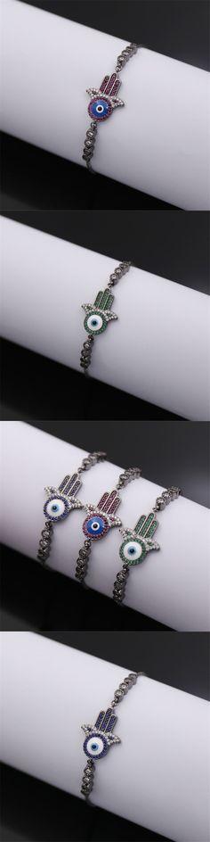 NJ Fashion Exquisite hamsa evil eye bracelet Green\Blue\Red Zircon Stainless Steel friendship turkish jewelry