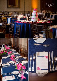 Wedding | Reception set up | Navy | Pink | Champaign Country Club | www.hollybirchphotography.com