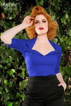 Pinup Couture - 50s Doris Top Royal Blue