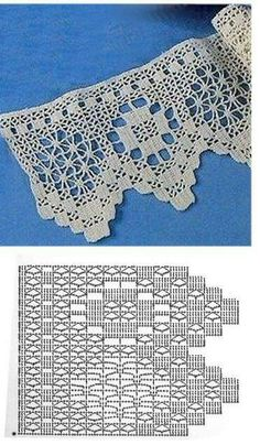 Ideas For Crochet Lace Pattern Curtain Beautiful Crochet Edging Patterns, Crochet Lace Edging, Crochet Motifs, Crochet Borders, Crochet Diagram, Crochet Chart, Thread Crochet, Crochet Doilies, Crochet Stitches