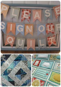 I LOVE this idea.... a quilt as your guest book.  Something that you can always keep and pass down to your children! (or your puppies!)
