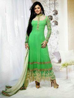 Green Georgette Anarkali Suit With Zari Work www.saree.com