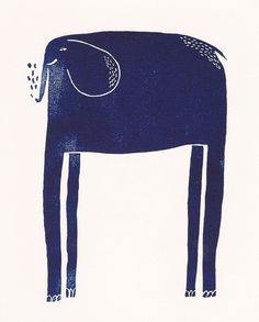 Elephant Lino Print by LucyLetherland on Etsy, £8.00