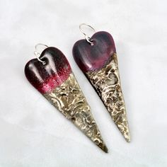 Long Copper Heart Enamel Earrings with Deep and Light shades of Magenta Enamel and Textured Silver Solder by DebeVanderHeide on Etsy https://www.etsy.com/listing/498721276/long-copper-heart-enamel-earrings-with