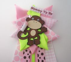 Monkey Girl Baby Shower Corsage   Pink And Lime Green   Ready To Ship