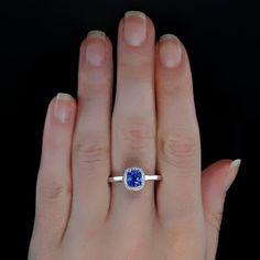 1.25 carat Round Cut Sapphire and Diamond Halo Bridal Set in 10k White Gold