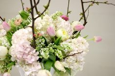 Jenny Steffens Hobick: DIY Flower Arrangements. Spring Inspired Blush Pink Hydrangea, Parrot Tullips, White Lilac & Hyacinth