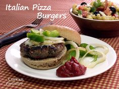 Mozzarella cheese, Italian sausage seasonings, grilled peppers, and marinara sauce give these hamburgers a fun Italian pizza twist.