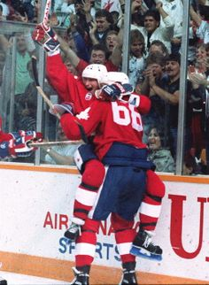 Wayne Gretzky and Mario Lemieux celebrate game winning goal - Canada Cup – 1987 Olympic Hockey, Ice Hockey, Canada Cup, Mario Lemieux, Hockey Boards, Hockey Rules, Hockey World, Wayne Gretzky, Pittsburgh Penguins Hockey