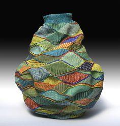 Fiber and Textile, Lois Russell, Artist, Blue Hill, x diameter Twined waxed linen Textiles, Textile Fiber Art, Weaving Art, Fabric Manipulation, Fabric Art, Oeuvre D'art, Basket Weaving, Bunt, Arts And Crafts