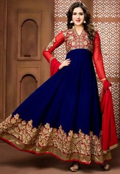 Embroidered Georgette Abaya Style Suit in Blue and Red
