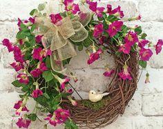 Bird Summer Wreath for Door, Front Door Wreath, Summer Door Wreath, Outdoor Wreath, Silk Floral Wreath, Grapevine Wreath,Spring Wreath,Decor