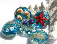 Aqua blue lampwork beads - handmade lampwork glass beads set SRA - scarlet red starfish, shells - Deep Sea Creatures
