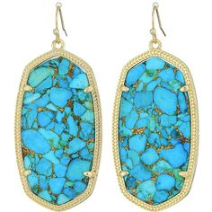 Kendra Scott Danielle Earrings (Gold/Bronze Veined Turquoise... ($75) ❤ liked on Polyvore featuring jewelry, earrings, green turquoise jewelry, kendra scott, kendra scott jewelry, turquoise earrings jewelry and yellow gold jewelry