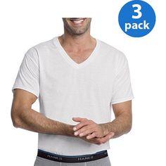 Hanes Men's 3 Pack Comfortblend White V-Neck T-Shirt, Size: Medium