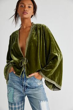Velvet Bed, Free People Jacket, Velvet Jacket, Velvet Tops, Mode Outfits, Boho Fashion, Bell Sleeves, My Style, How To Wear