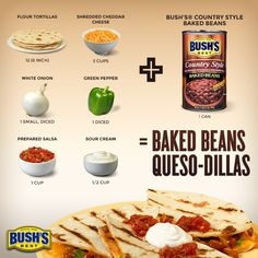 Love this BUSH'S® Beans recipe--can't wait to make Baked Beans Queso-dillas tonight!