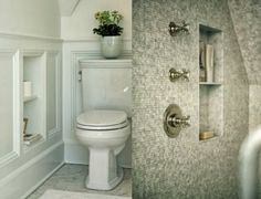 Design Chic: In Good Taste: Sage Design.. I don't like the mosaic shower wall, but I love the niche next to the toilet.