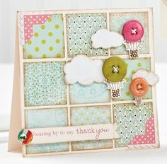 DIY card idea - cut out 9 squares of scrapbook paper, print out phrases and shapes, then attach with buttons using thread