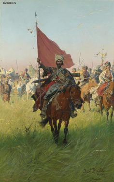"Zaporozhye Cossacks. ""Banner"". Artist Józef Brandt  / Запорожские казаки.""Знамя"". Художник Йозеф Брандт."