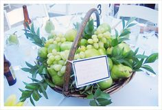 Inexpensive Wedding Centerpieces - pears, grapes and greenery