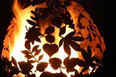 Fire Sphere Sculptural Fire Pit ''Leaf'' Design by Craftsmen in Metal J.J Barrett Ltd. Fire Pit Ball, Fire Pit Sphere, Fire Pits, James Martin Home Comforts, Fire Pit Designs, Outdoor Fire, Outdoor Decor, Garden Styles, Leaf Design