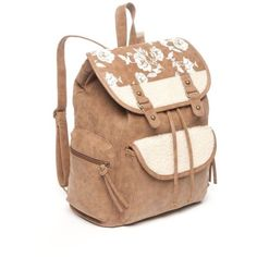 Red Camel Brown Floral Sherpa  Suede Backpack ($32) ❤ liked on Polyvore featuring bags, backpacks, brown, brown suede bag, red camel, flower print backpack, drawstring backpack bags and floral bags