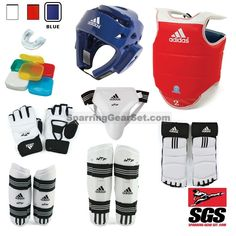 Adidas Complete Taekwondo Sparring Gear Set w/ Shin Guards Supreme Top Quality Sparring Gear Set Adidas is approved by the World Taekwondo Federation (WTF) Approved and the standard for both tournamen